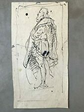 18th c OLD MASTER DRAWING 'Man Standing' ca 1750 - INK on PAPER - ITALIAN SCHOOL