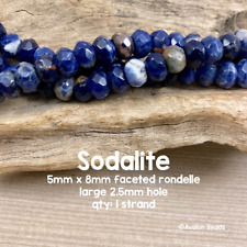 "Sodalite - LARGE HOLE Beads - FACETED - 5x8mm - Rondelle - 8"" Strand - 2.5mm Hol"