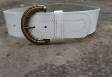S - Wide White Leather Belt womens with D shaped buckle