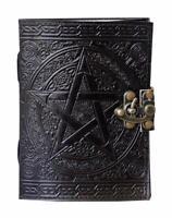 10x7 Handmade Pentagram Leather Journal Book of Shadow Black Pentacle Notebook