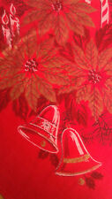 "VINTAGE CHRISTMAS RED GOLD POINSETTIAS PINECONES USA COTTON 55 x 76"""