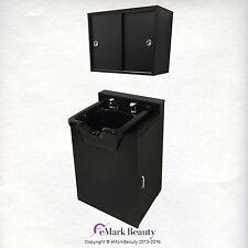Black ABS Plastic Shampoo Bowl in Floor Cabinet w/ Upper Cabinet TLC-B11-FC-TC