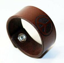 Peace sign -leather bracelet, Hippie leather bracelet, Make love not war.