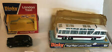 2- Dinky Toys- Vega Major Luxury Coach 954 1975,  Dinky Toy London Taxi # 284,