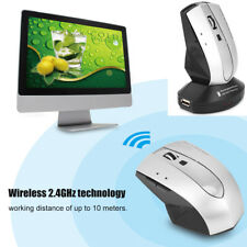 Rechargeable Wireless Mouse 2.4G Optical Computer Mice Charging Dock Adapter UK