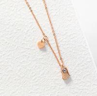 18 Karat Goldkette Damen Halskette mit Anhänger Diamant Herz Geschenk Idee 38€