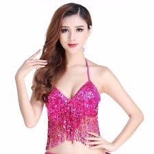 Sequins Belly Dance Top Costume Tassel Fringe Hip Scarf Belt Waist Wrap Skirt