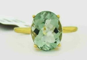 GENUINE 2.78 Cts GREEN AMETHYST RING 10K GOLD ** Free certificate Appraisal **