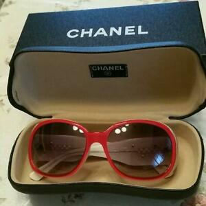 Auth CHANEL White CC Logo Camellia Red Sunglasses Used from Japan F/S