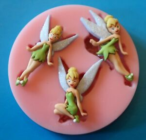 TINKERBELL TRIO SILICONE MOULD FOR CAKE TOPPERS CHOCOLATE, CLAY ETC