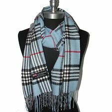 New Fashion100% Cashmere Scarf Ligth Blue Check Plaid Scotland Wool Unisex (A6cr
