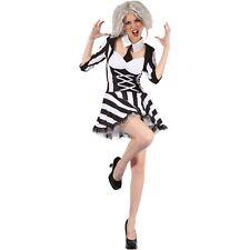Womens Halloween Beetle Juice Lady Costume Ladies Fancy Dress - 10-14