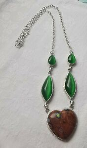 Unusual Sterling Silver Millifiore and Green Glass Heart Necklace