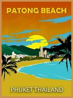 Patong Beach Phuket Thailand Asia Retro Travel Advertisement Art Poster Print