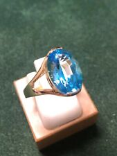 Beautiful Ladies 14KT y/g 10 X 15mm oval Blue Topaz solitaire ring, size 10