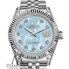 Women's Rolex 26mm Datejust Baby Blue MOP Mother Of Pearl Diamond Dial Watch