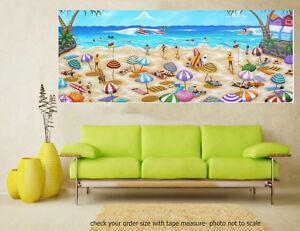 Original art painting print signed Andy Baker Beach surfing waves fun Australia