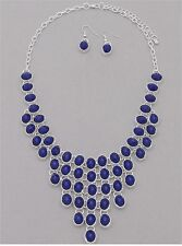 Navy Blue Small Faceted Oval Stud Silver Tone Base V Style Necklace earring