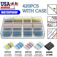 420PCS Solder Seal Heat Shrink Wire Butt Terminal Connectors Kit Set Waterproof