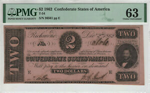 1862 $2 CONFEDERATE STATES OF AMERICA NOTE CURRENCY T-54 PMG CHOICE UNC 63 (561)