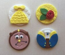 Beauty and the beast Fondant Cupcake Edible Toppers Belle Beast Rose Clock X 12