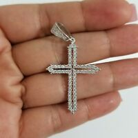 925 Sterling Silver Round Micro Pave Cubic Zirconia Cross Charm Pendant