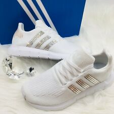 Bling Adidas Swift Run Women's Shoes w/ Swarovski Crystals on Stripes - White