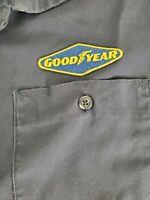 Good Year Mens Short Sleeve Navy Blue Work Shirt Button Front Size XL