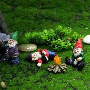 Lustige Gartenzwerge Gartenfigur 4er Set Skulptur Dekoration mini Garten Statue