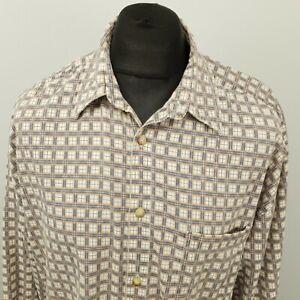 RETRO Vintage Cord Shirt Funky Hippy Crazy 1980s 1990s 2XL Grey Abstract Cotton