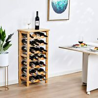 28-Bottle 8-Tire Wine Rack Bar Display Natural Bamboo Stand Solid Storage Shelf