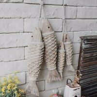 2x Wooden Hanging Fish Coastal Village Handicrafts Nautical Home Wall Decor