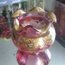 ABSOLUTELY FABULOUS ANTIQUE MOSER CRANBERRY GLASS GILT ENAMELED ROSE BOWL VASE