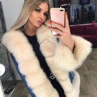 Women's 100% Real Natural Fox Fur Collar Denim Parka Coat Jacket Thick Overcoat