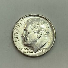 1955 (D) Roosevelt Dime, Uncirculated Full Bands Gem - 90% Silver US Coin *3b51