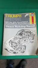 Haynes Triumph Spitfire 1962-1978 Owners Shop Manual Book- antique