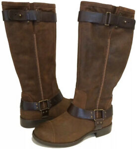 UGG DREE Size 6 Suede/Leather Tall Moto Boots Pull-On Buckle Brown $275
