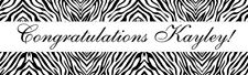4ft Personalized Name Zebra Print Pattern Birthday Baby Shower Party Banner