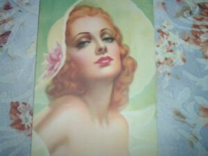 Vintage PIN-UP Bright Colors Strawberry BLONDE BEAUTY Large White Hat Red Lips
