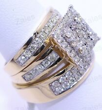 Wedding Bridal Band 14k Yellow Gold Fn Diamond His Her Trio Engagement Ring Set