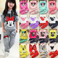 Toddler Kid Baby Girl Minnie Mouse Outfits Clothes 2Pcs Set T-shirts Tops+Pants