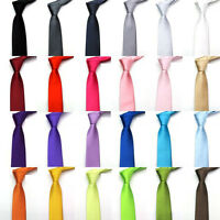 24Color Solid Plain Classic 100%Polyester Silk Women Neck tie Men's Wedding