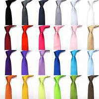 24Color Solid Plain Classic 100%Polyester Silk Women Neck tie Men's Wedding