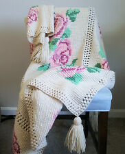 "Vintage Handmade Crochet Afghan Blanket Throw Cross Stitch Floral Rose 72"" x 52"""