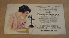 """1920's ADVERTISING Ink BLOTTER~""""London CLEANING & DYEING Co""""~Lynn MASS~Telephone"""