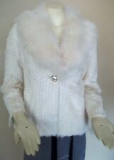 St. John Coats Lamb Finnish Fox Fur Ivory Jacket Size 10