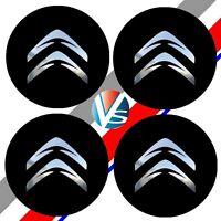 4 adhésifs stickers CITROEN noir chrome 40 à 100 MM pour centre de jantes