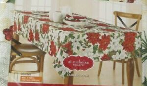 St Nicholas Square Christmas Poinsettia Holly Red White 60x102 Oblong Tablecloth