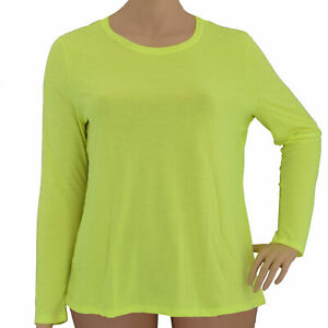 Danskin Now Women's Neon Yellow, Semi-Fitted Long Sleeve Athletic Shirt In XXL