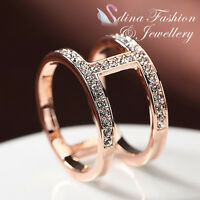 18K Rose Gold Plated Simulated Diamond Exquisite Double Band Letter H Ring
